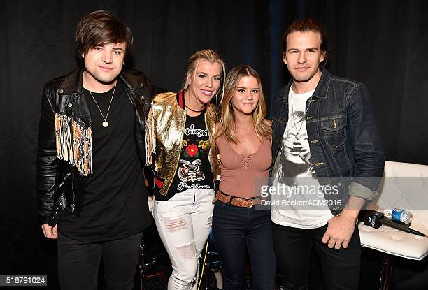 Musician Maren Morris poses with Musicians Neil Perry Kimberly Perry and Reid Perry of The Band Perry at Westwood One Presents #WWOBackstage @ 51st...