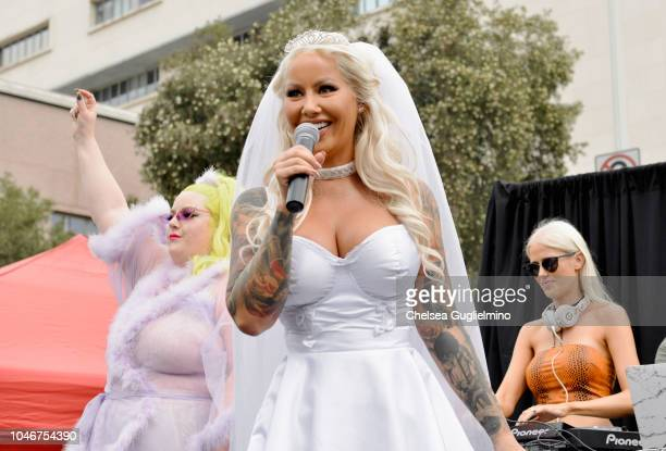 Musician Margie Plus, model/actress Amber Rose and DJ Saint Clair seen onstage at the 4th Annual Amber Rose SlutWalk on October 6, 2018 in Los...