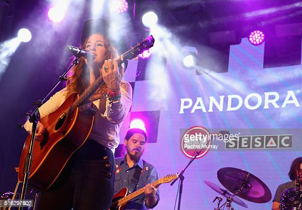Musician Margo Price performs onstage during the PANDORA Discovery Den SXSW on March 17 2016 in Austin Texas