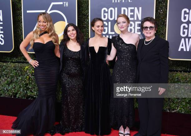Musician Mariah Carey actors America Ferrera Natalie Portman and Emma Stone and former tennis player Billie Jean King attend The 75th Annual Golden...
