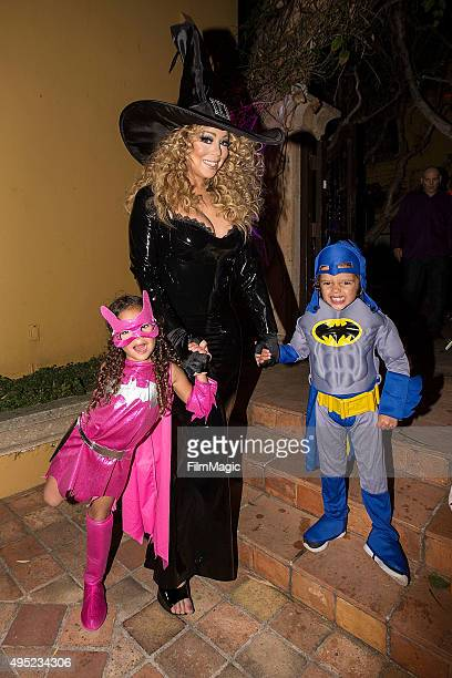 Musician Mariah Carey and her 4year old twins Monroe Cannon and Moroccan Cannon appear at Mariah Carey's Festive Halloween Party at her Beverly Hills...
