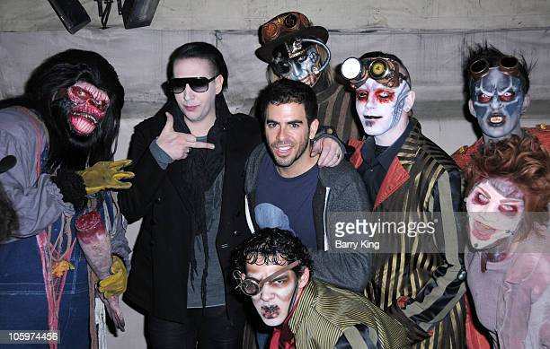 Musician Marilyn Manson and director/producer Eli Roth attend Knott's Scary Farm Halloween Haunt at Knott's Berry Farm on October 22 2010 in Buena...