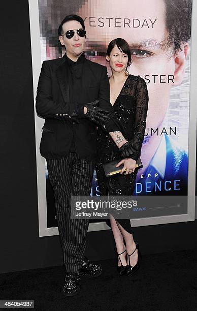 Musician Marilyn Manson and Lindsay Usich arrive at the 'Transcendence' Los Angeles Premiere at Regency Village Theatre on April 10 2014 in Westwood...