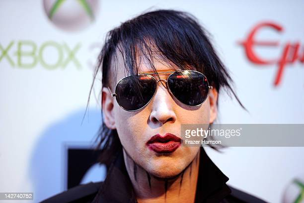 Musician Marilyn Manson arrives at the 2012 Revolver Golden Gods Award Show at Club Nokia on April 11 2012 in Los Angeles California