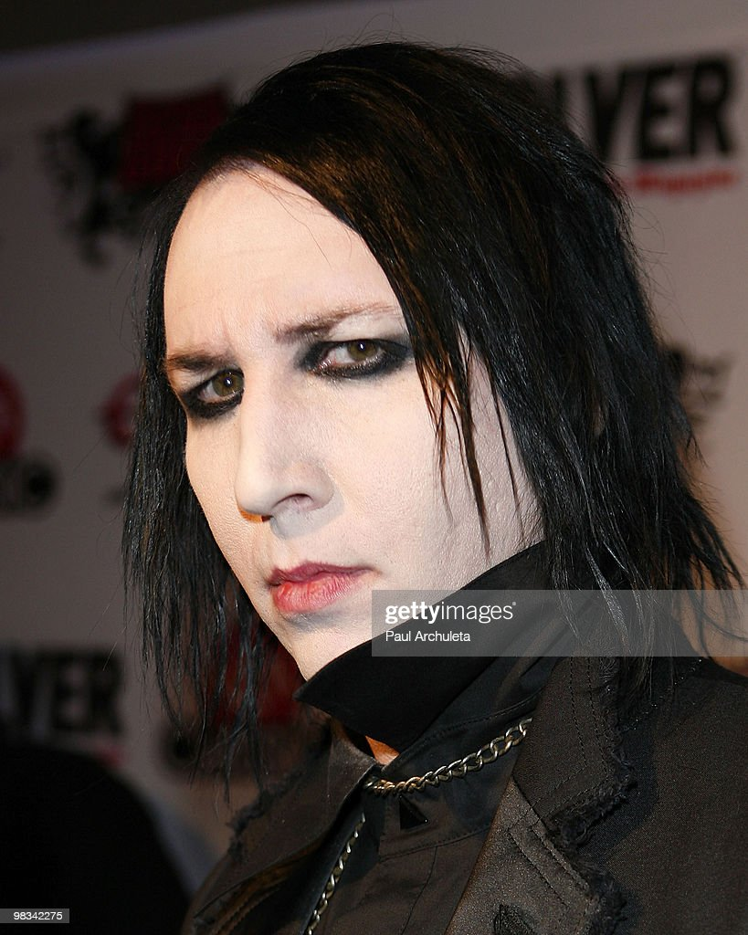 Musician Marilyn Manson arrives at the 2nd annual Revolver Golden Gods Awards at Club Nokia on April 8, 2010 in Los Angeles, California.