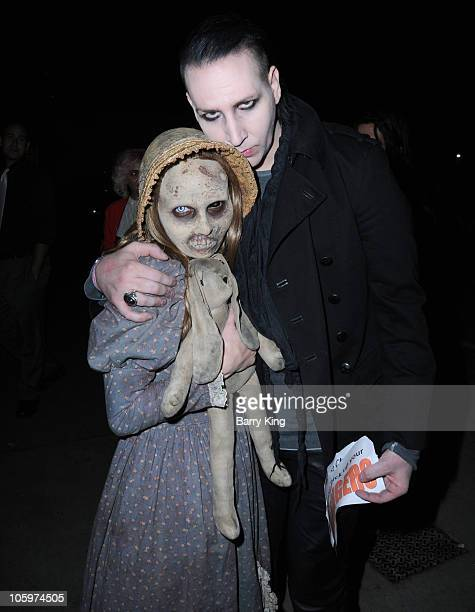 Musician Marilyn Manson attends Knott's Scary Farm Halloween Haunt at Knott's Berry Farm on October 22 2010 in Buena Park California