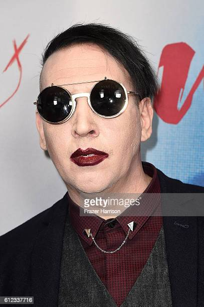 Musician Marilyn Manson attends the premiere of Drafthouse Films' 'We Are X' at TCL Chinese Theatre on October 3 2016 in Hollywood California