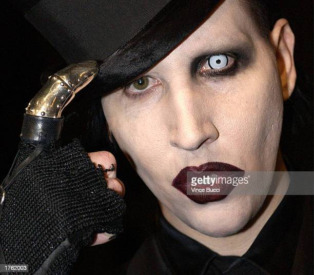"""Musician Marilyn Manson attends the screening of the short animated film """"Final Flight of the Osiris"""" and the debut of the video game """"Enter the..."""