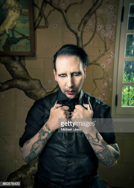 Musician Marilyn Manson for New York Times on December 11 2014 in West Hollywood California