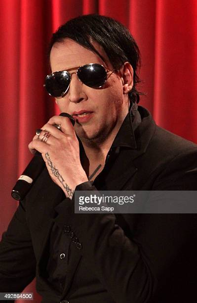 Musician Marilyn Manson speaks onstage at An Evening With Marilyn Manson And Tyler Bates at The GRAMMY Museum on October 15 2015 in Los Angeles...