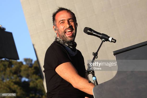Musician Mario Domm of Camila performs on stage during Univision Radio's 2014 Uforia Music Festival at Exposition Park on August 16 2014 in Los...