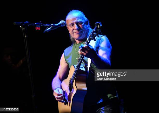 Musician Mark Farner, founding member and former lead singer of the classic rock band Grand Funk Railroad, performs onstage at The Canyon Club on...
