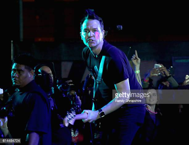"""Musician Mark Hoppus of Blink 182 performs onstage during MTV's """"Wonderland"""" LIVE Show on October 13, 2016 in Los Angeles, California."""