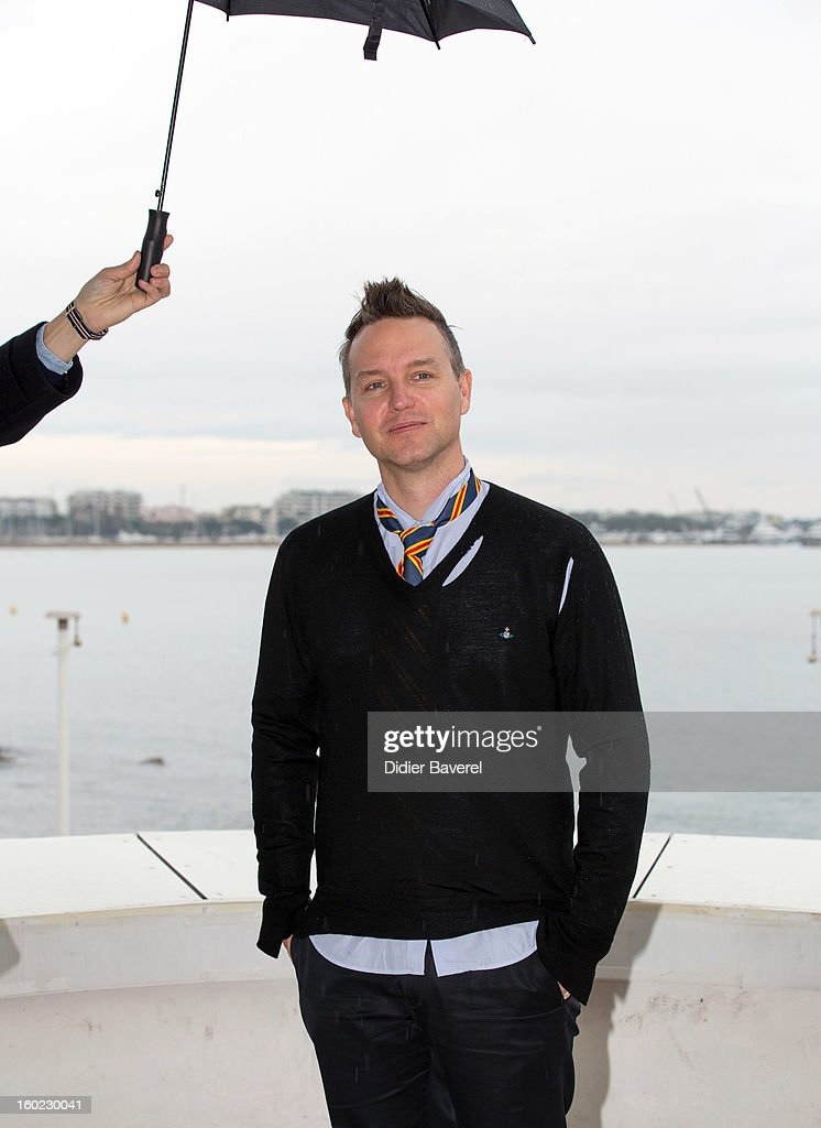 Musician Mark Hoppus poses during the photocall of 47th Midem at Palais des Festivals on January 28, 2013 in Cannes, France.