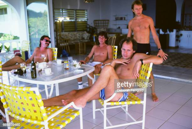 Musician Mark Knopfler with band Dire Straits posing in 1985 in Montserrat British West Indies