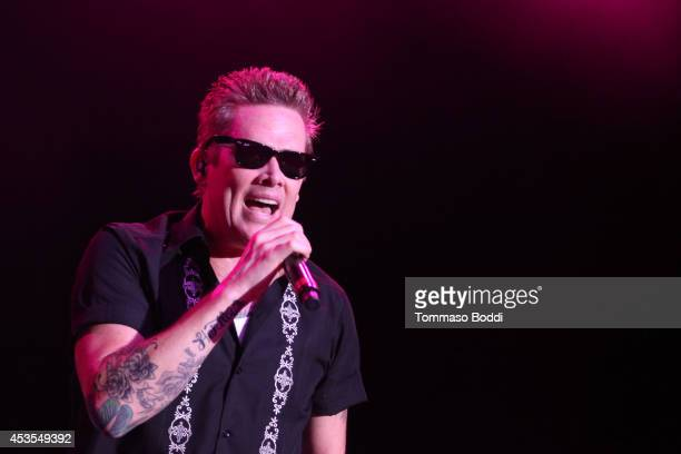 Musician Mark McGrath of Sugar Ray performs during the Under The Sun Tour at The Greek Theatre on August 12 2014 in Los Angeles California
