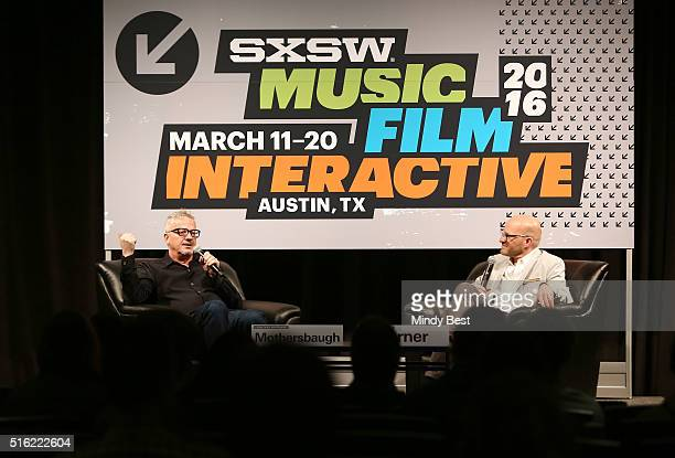 Musician Mark Mothersbaugh and Adam Lerner Director of the Museum of Contemporary Art Denver speak onstage at SXSW Interview Mark Mothersbaugh during...