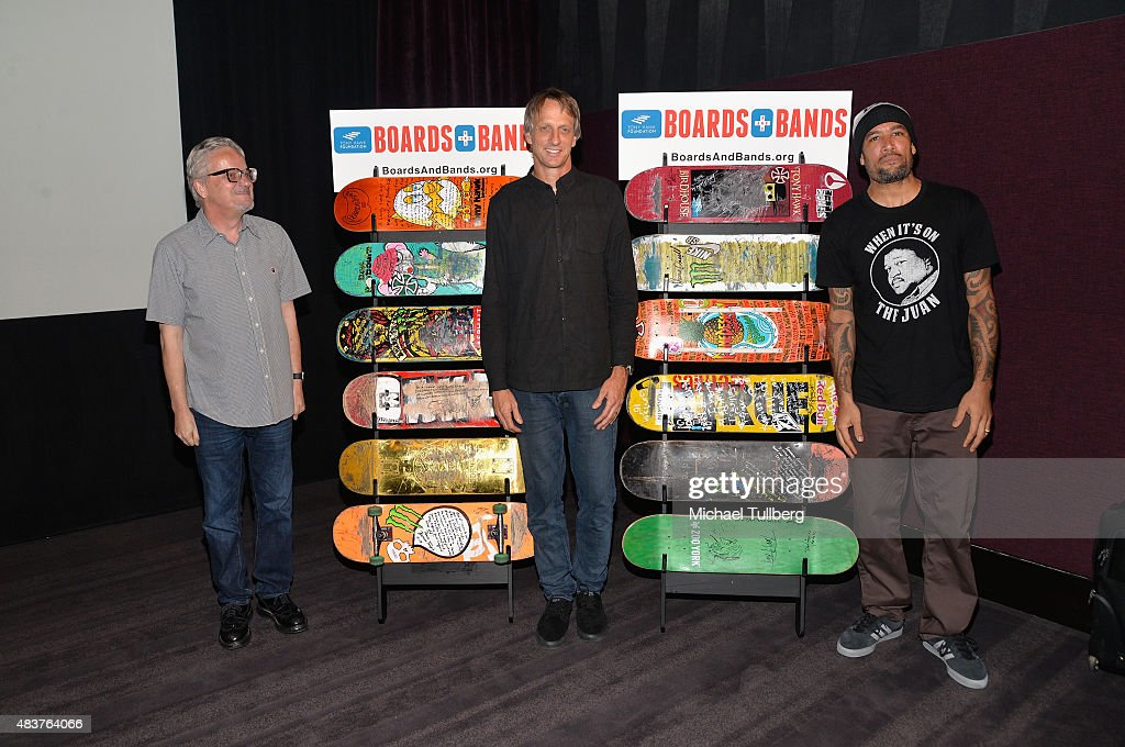 Musician Mark Mothersbaugh of DEVO, skateboarding legend Tony Hawk and musician Ben Harper attend a press conference kicking off the Third annual Boards + Bands auction at The London West Hollywood on August 12, 2015 in West Hollywood, California.