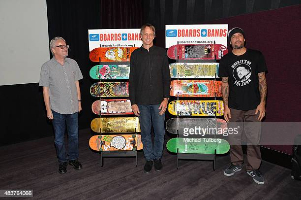 Musician Mark Mothersbaugh of DEVO skateboarding legend Tony Hawk and musician Ben Harper attend a press conference kicking off the Third annual...