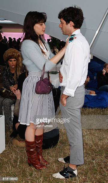 LONDON JULY 03 Musician Mark Ronson and Daisy Lowe talk behind the main stage in the O2 VIP Lounge during Day One of the O2 Wireless Festival in Hyde...