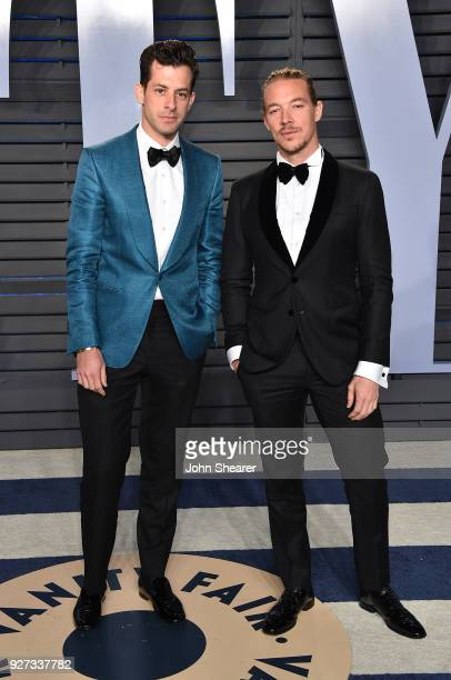 Musician Mark Ronson and DJ Diplo attend the 2018 Vanity Fair Oscar Party hosted by Radhika Jones at Wallis Annenberg Center for the Performing Arts...