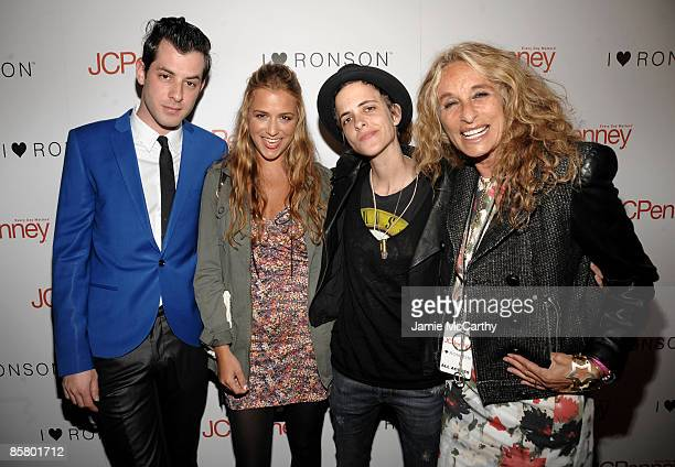 Musician Mark Ronson designer Charlotte Ronson DJ Samantha Ronson and their mother Ann DexterJones arrive at the I Heart Ronson launch party...