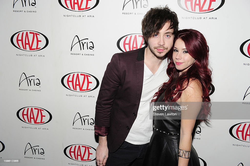 Musician Marty Shannon and actress Jillian Rose Reed arrive for her 21st birthday celebration at Haze Nightclub at the Aria Resort & Casino at CityCenter on December 20, 2012 in Las Vegas, Nevada.