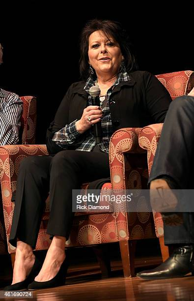 Musician Mary Arnold Miller speaks during a panel discussion with Kenny Rogers and the First Edition at the Country Music Hall Of Fame and Museum in...