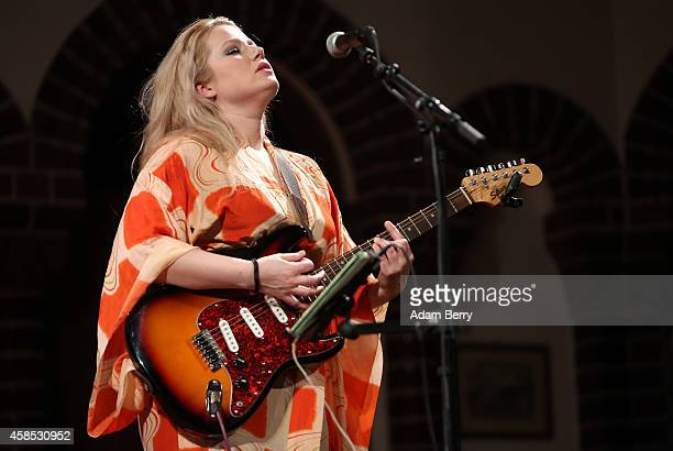 Musician Mary Epworth performs during a live version of 'The Librarian' episode of the podcast 'Welcome To Night Vale' at the Passionskirche on...