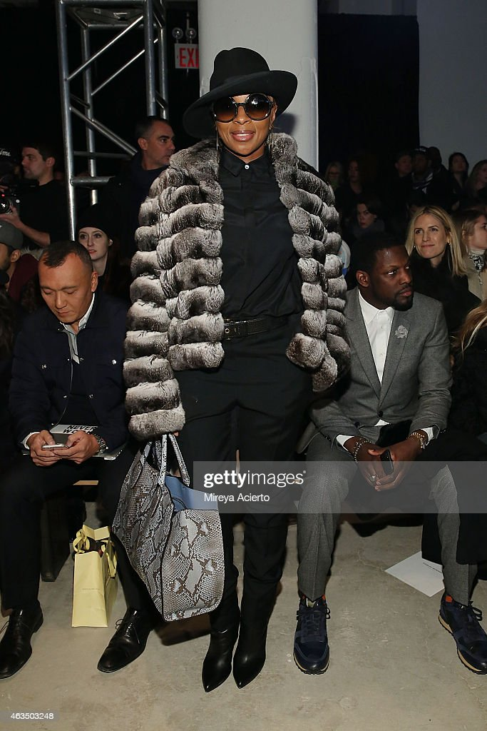 Musician Mary J. Blige attends Public School runway show during MADE Fashion Week Fall 2015 at Studio 330 on February 15, 2015 in New York City.