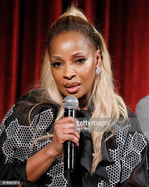 Musician Mary J Blige on stage during The Academy of Motion Picture Arts Sciences Official Academy Screening of Mudbound at the MOMA Celeste Bartos...
