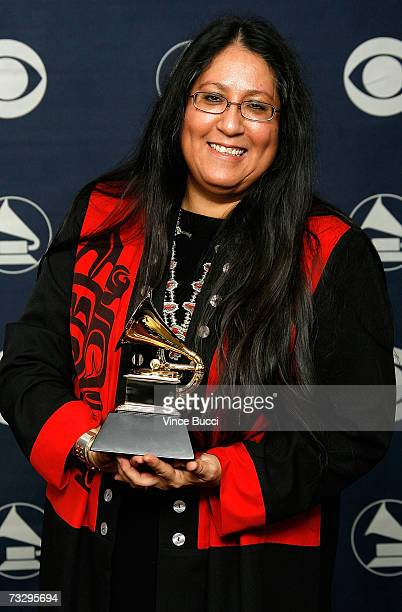 Musician Mary Youngblood poses with her Best Native American Music Album in the press room at the 49th Annual Grammy Awards at the Staples Center on...