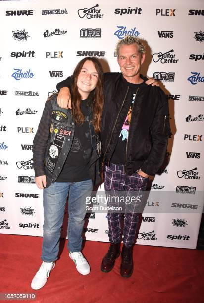 Musician Mason Young and his father Adrian Young founding member of No Doubt attends the Strange 80's concert at The Fonda Theatre on October 12 2018...