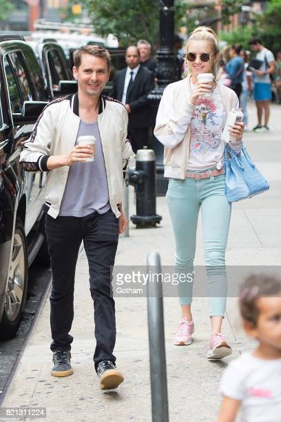 Musician Matt Bellamy and model Elle Evans are seen in Tribeca on July 23 2017 in New York City
