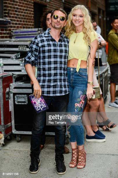 Musician Matt Bellamy and model Elle Evans enter the The Late Show With Stephen Colbert taping at the Ed Sullivan Theater on July 20 2017 in New York...