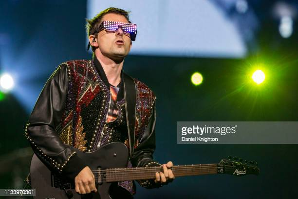 Musician Matt Bellamy of Muse performs on stage at Pechanga Arena on March 05, 2019 in San Diego, California.