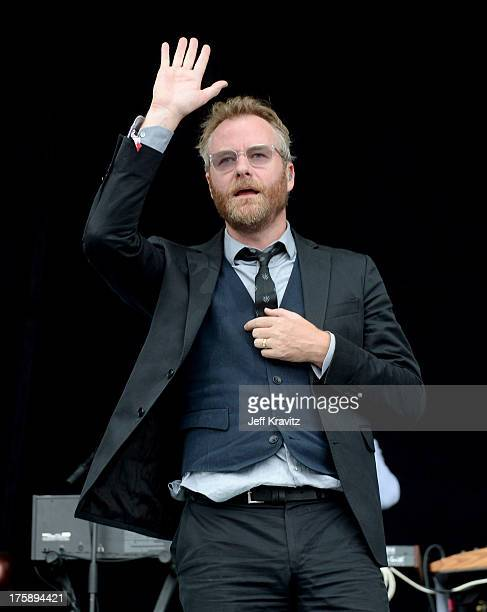 Musician Matt Berninger of The National performs at the Lands End Stage during day 1 of the 2013 Outside Lands Music and Arts Festival at Golden Gate...
