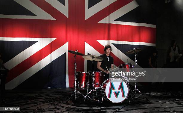 Musician Matt Flynn of the band Maroon 5 performs at the Maroon 5 Video Shoot for Moves Like Jagger with Christina Aguilera on July 8 2011 in Los...