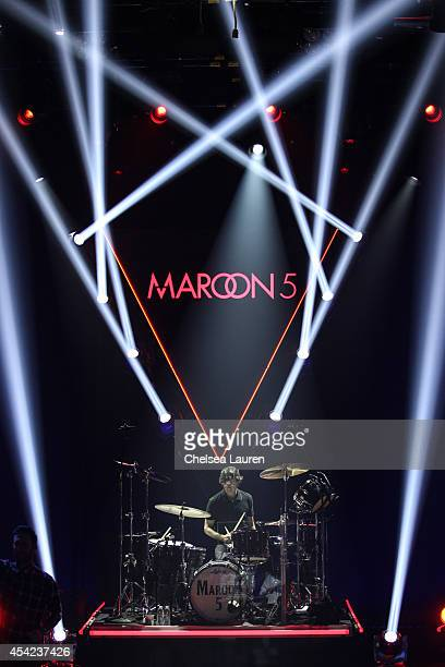 Musician Matt Flynn performs onstage during the iHeartRadio Album Release Party with Maroon 5 for their album V at iHeartRadio Theater on August 26...