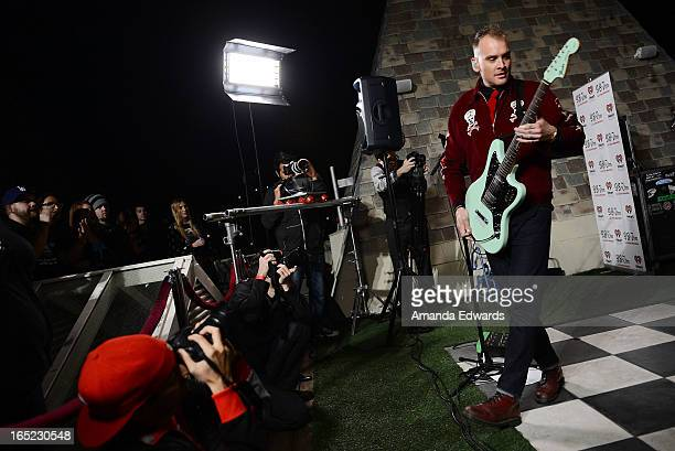 Musician Matt Skiba of the band Alkaline Trio performs onstage at the 987FM Penthouse at The Historic Hollywood Tower on April 1 2013 in Hollywood...