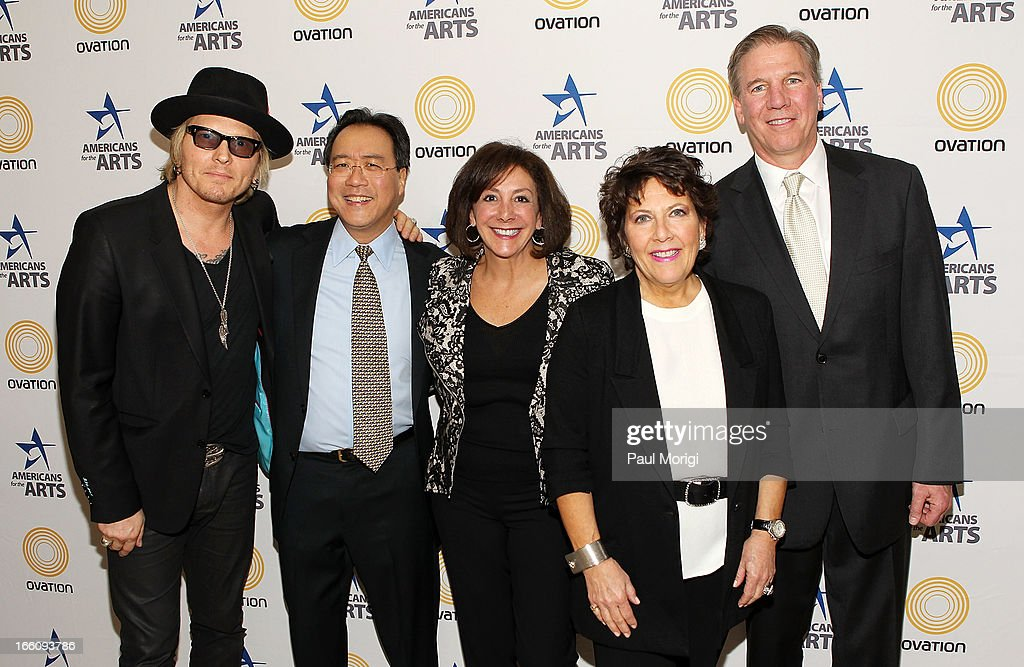 Musician Matt Sorum, acclaimed artist and arts educator Yo-Yo Ma, Susan Eid of DirecTV, Jayne Victor and Ovation EVP of Distribution Brad Samuels pose for a photo backstage at The Nancy Hanks Lecture on Art and Public Policy sponsored by Ovation at John F. Kennedy Center for the Performing Arts on April 8, 2013 in Washington, DC.