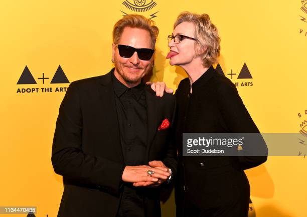 Musician Matt Sorum and actress Jane Lynch attend the 7th Annual Adopt the Arts Benefit Gala at The Wiltern on March 07 2019 in Los Angeles California