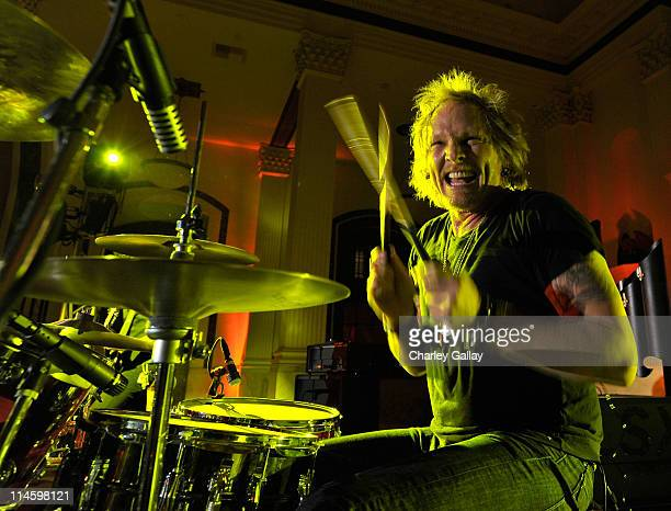 """Musician Matt Sorum performs onstage at the grand opening of """"Pandora"""" at Vibiana on October 27, 2009 in Los Angeles, California."""
