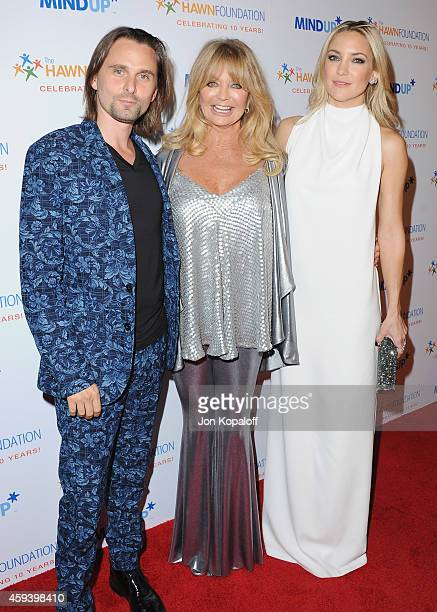 Musician Matthew Bellamy actress Goldie Hawn and actress Kate Hudson arrive at Goldie Hawn's Inaugural 'Love In For Kids' Benefiting The Hawn...