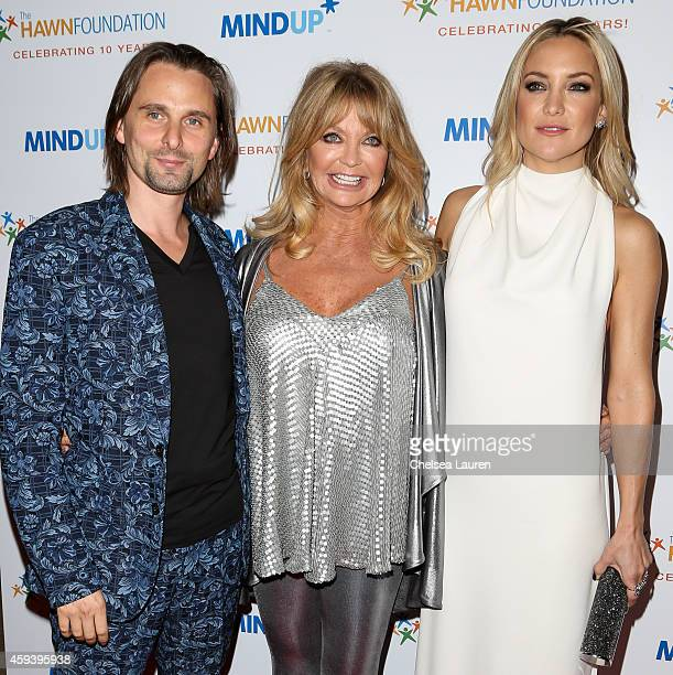 Musician Matthew Bellamy actresses Goldie Hawn and and Kate Hudson arrive at Goldie Hawn's inaugural 'Love In For Kids' benefiting the Hawn...