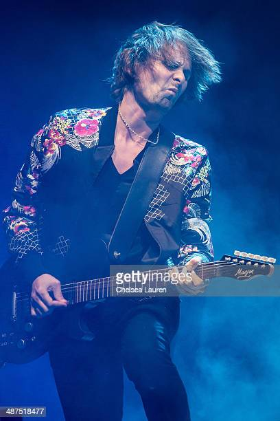 Musician Matthew Bellamy of Muse performs during the Coachella valley music and arts festival at The Empire Polo Club on April 19, 2014 in Indio,...