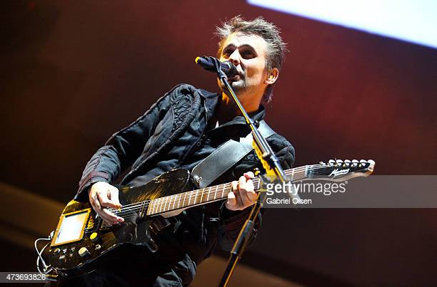 Musician Matthew Bellamy of Muse performs onstage at the KROQ Weenie Roast Y Fiesta 2015 at Irvine Meadows Amphitheatre on May 16, 2015 in Irvine,...