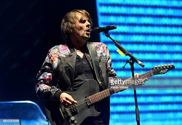 Musician Matthew Bellamy of Muse performs onstage during day 2 of the 2014 Coachella Valley Music Arts Festival at the Empire Polo Club on April 12...