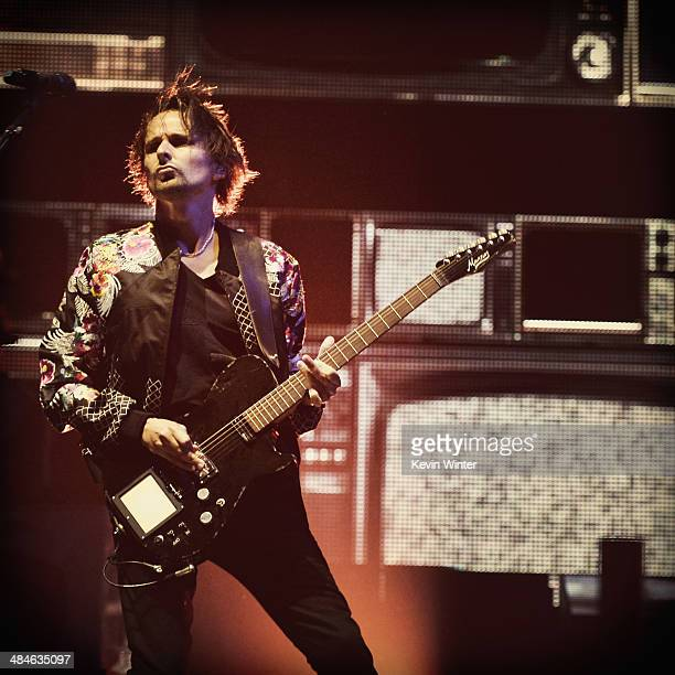 Musician Matthew Bellamy of Muse performs onstage during day 2 of the 2014 Coachella Valley Music & Arts Festival at the Empire Polo Club on April...