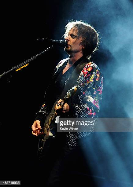 Musician Matthew Bellamy of Muse performs onstage during day 2 of the 2014 Coachella Valley Music Arts Festival at the Empire Polo Club on April 19...